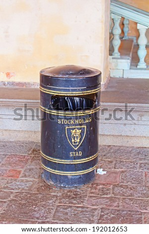 Trash with City logo of Stockholm - stock photo