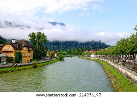 Traun river - Bad Ischl - Upper Austria - stock photo