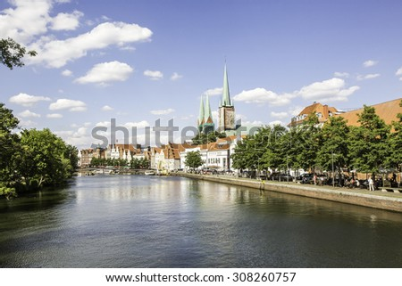 Trave river in the old town Lubec, Germany - stock photo
