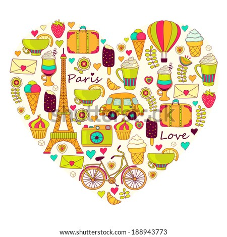 Travel and love paris background  - stock photo