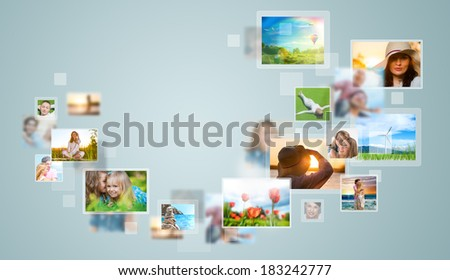 Travel and photo sharing technology background - stock photo