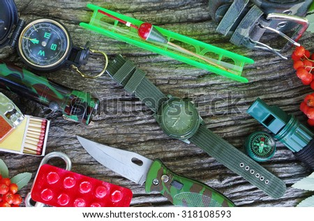 Travel and survival gear.Survival kit - stock photo