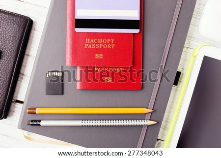 Travel and tourism concept. Air tickets, passports and credit card, tourism and planning - stock photo