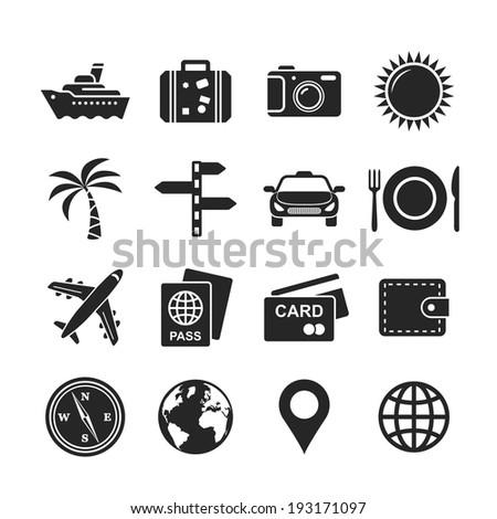 Travel and tourism icon set. Raster version - stock photo
