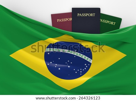 Travel and tourism in Brazil, with assorted passports - stock photo