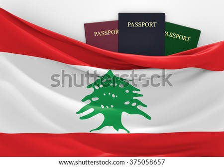 Travel and tourism in Lebanon, with assorted passports - stock photo