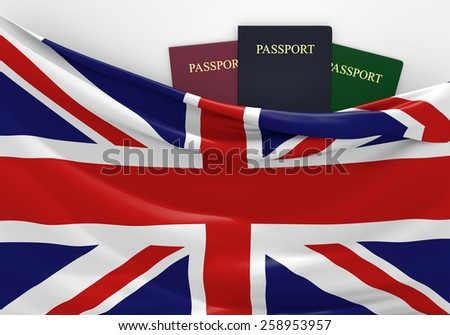 Travel and tourism in the United Kingdom, with assorted passports - stock photo