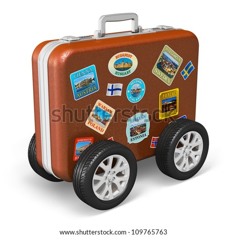 Travel around the world and tourism concept: leather travel case with label tags and car wheels isolated on white background - stock photo
