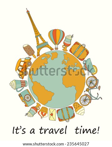 Travel around the world background with the Eiffel Tower, car, suitcase, bicycle and sweets  - stock photo