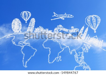 Travel around the world holidays and cloud - stock photo