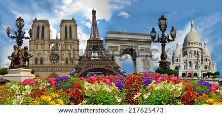 Travel background. Symbols of Paris: Eiffel Tower, Cathedral of Notre Dame de Paris, Sacre Coeur Basilica, Arc de Triomphe, Street lamps of Alexandre III bridge.  - stock photo