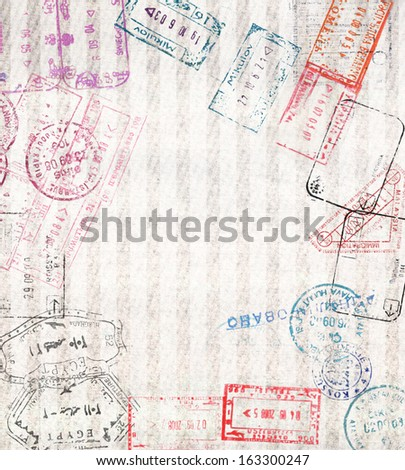 Travel background with different passport stamps  - stock photo