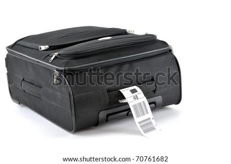 Travel bag isolated on white background. - stock photo
