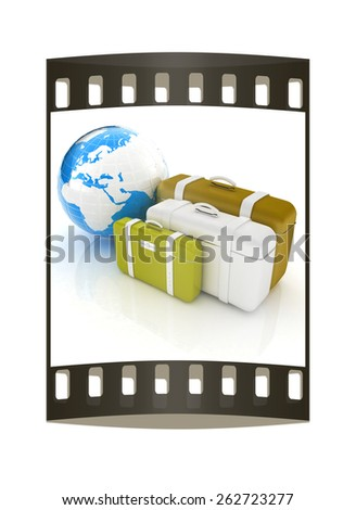 travel bags and earth on white. The film strip - stock photo