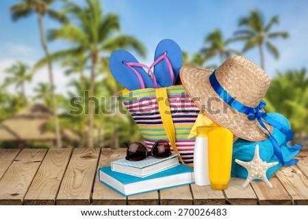 Travel. Beach bag - stock photo