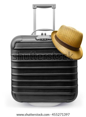 Travel Black bag and straw hat - stock photo