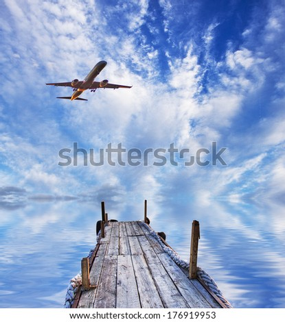 Travel by air to the Caribbean - stock photo