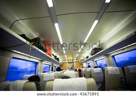 travel by train. interior of the speeding train. - stock photo
