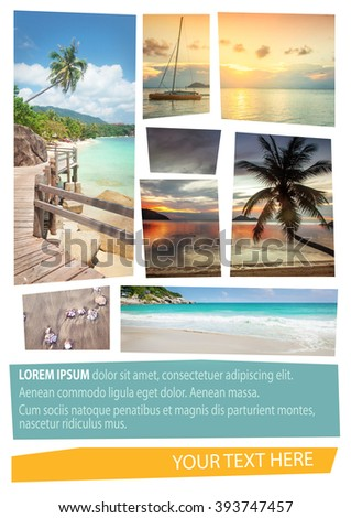 Travel collage. Can be used for cover design, brochures, flyers. With space for text - stock photo