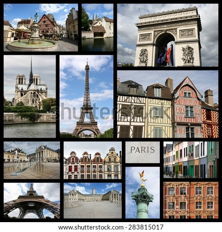 Travel collage from France. Collage includes famous places like Paris, Amiens, Chartres, Dijon, Lille and Auxerre. - stock photo