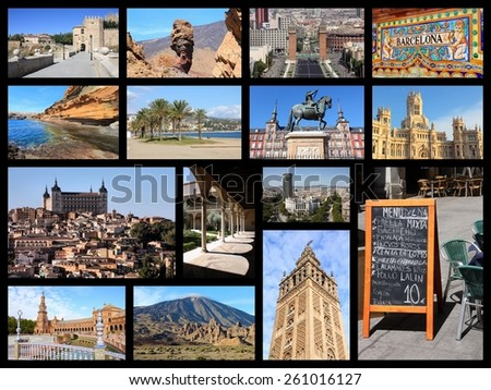 Travel collage from Spain. Collage includes famous places like Madrid, Barcelona, Toledo, Seville, Malaga and Tenerife. - stock photo