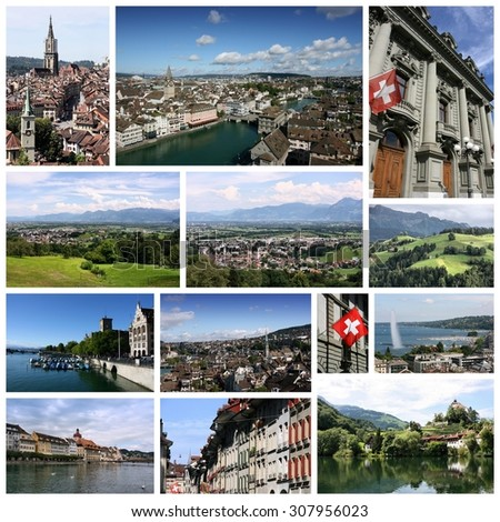 Travel collage from Switzerland. Collage includes famous places like Berne, Geneva, Zurich and Luzern. - stock photo