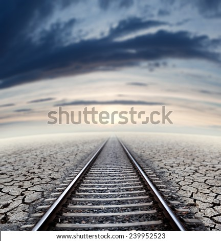 Travel concept and railway.Sunset dream scape - stock photo