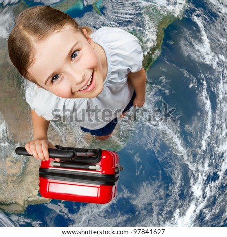 Travel concept - Around the world - Elements of this image furnished by NASA - stock photo