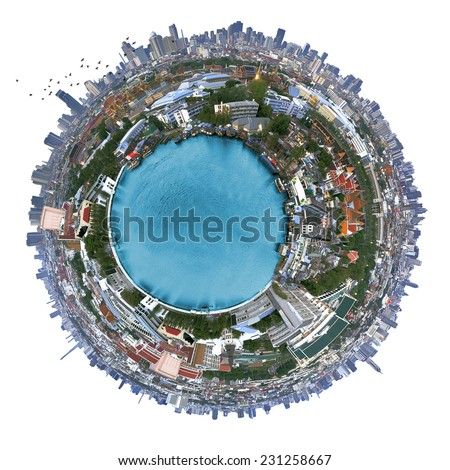 Travel concept, Bangkok Thailand isolated on white with clipping path. - stock photo