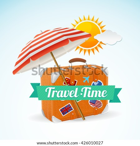 Travel Concept Banner Card. Summer Vacation. illustration - stock photo