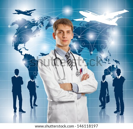 Travel concept. Businessman with virtual background - stock photo