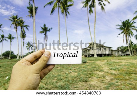 travel concept, cropped hand holding white canvas with word tropical over blurred background of rural area.wooden house surrounded by coconut tree at sunny day and cloudy blue sky - stock photo