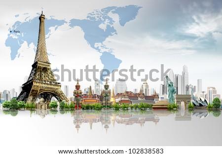 Travel concept, Eiffel Tower, Paris - stock photo