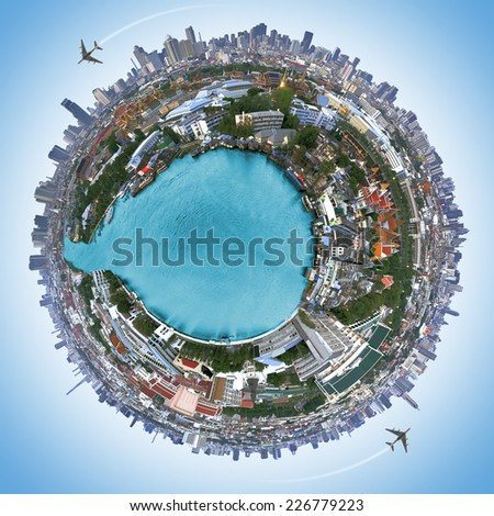 Travel concept, Landscape Bangkok city  and the Palace of Thailand - stock photo