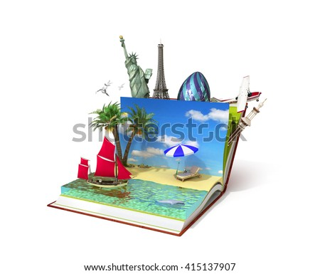 travel concept, open book with beach on her and other recreation between pages 3d illustration - stock photo