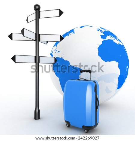 Travel concept. Signpost and suitcases on a globe background. 3d render illustration - stock photo