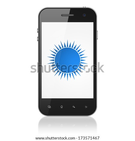 Travel concept: smartphone with Sun icon on display. Mobile smart phone on White background, cell phone 3d render - stock photo