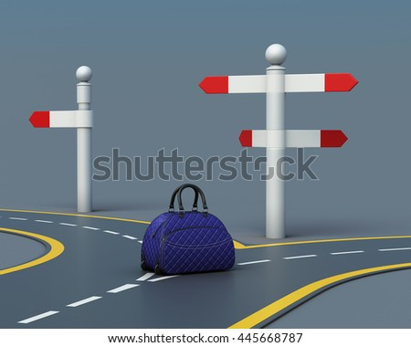 Travel concept suitcase on road forks. Choice of the way. Suitcase near pointer. 3d rendering - stock photo
