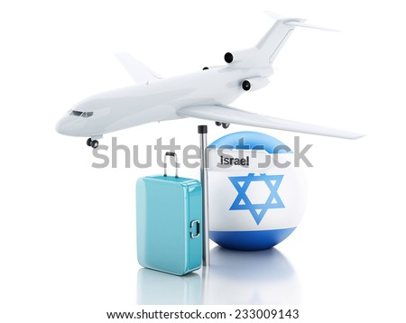 Travel concept. Suitcase, plane and Israel flag icon. 3d renderer illustration - stock photo