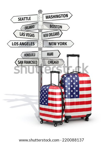 Travel concept. Suitcases and signpost what to visit in USA. 3d - stock photo