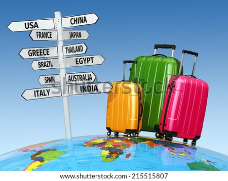 Travel concept. Suitcases and signpost with countries. 3d - stock photo