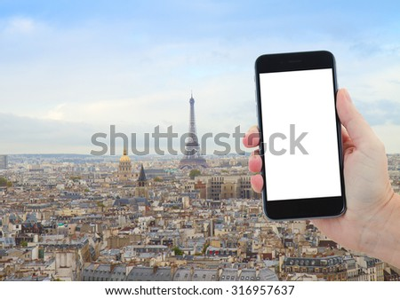 travel concept with  skyline of Paris city with Eiffel Tower from above, France, copy space for advetizement on smartphone screen - stock photo
