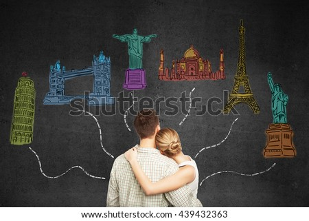 Travel concept with young honeymoon couple looking at sketches connected with dotted lines on concrete background - stock photo