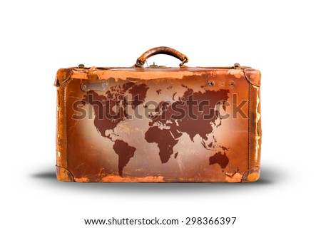 Travel concept, world map over vintage suitcase. white background - stock photo