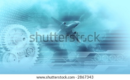 travel design background landing airliner in the background digital world map,gears,binary data codes and wireframe tech lines - stock photo