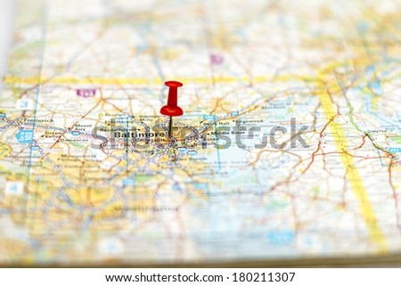 Travel destination - Road map of Baltimore Area with pushpin - stock photo