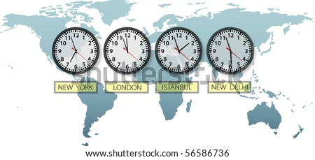 Travel Earth city time clocks on world map with space to crop and for copy. - stock photo