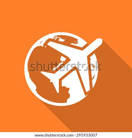 travel flat design modern icon with long shadow for web and mobile app  - stock photo