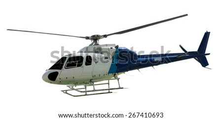 Travel helicopter with working propeller, isolated on white - stock photo