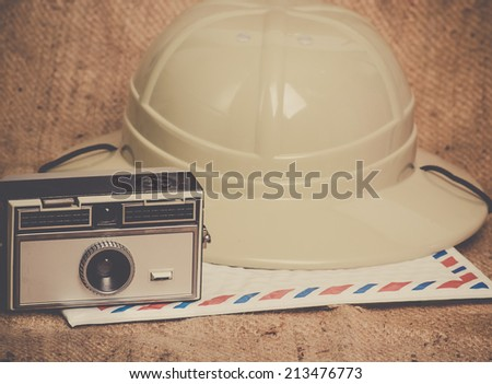 Travel icons camera airmail envelope canvas safari hat - stock photo